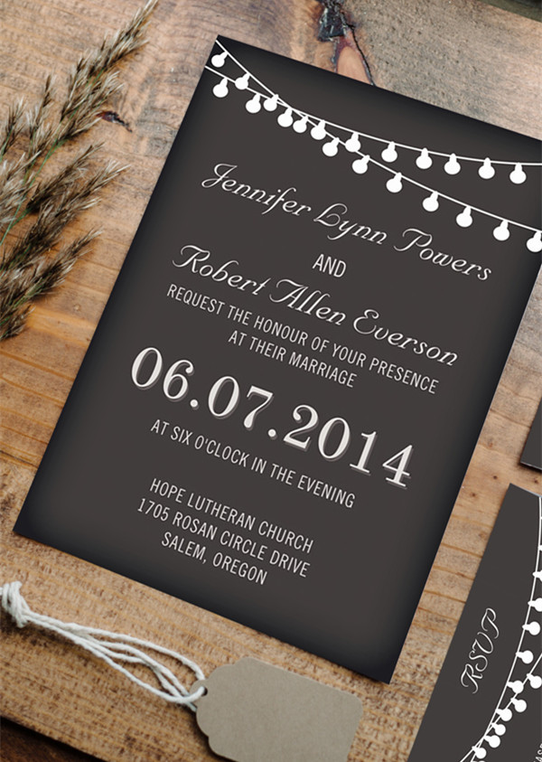 hang lights country rustic chalkboard wedding invitation cards