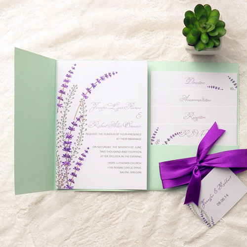Mint and Purple Wedding Cards