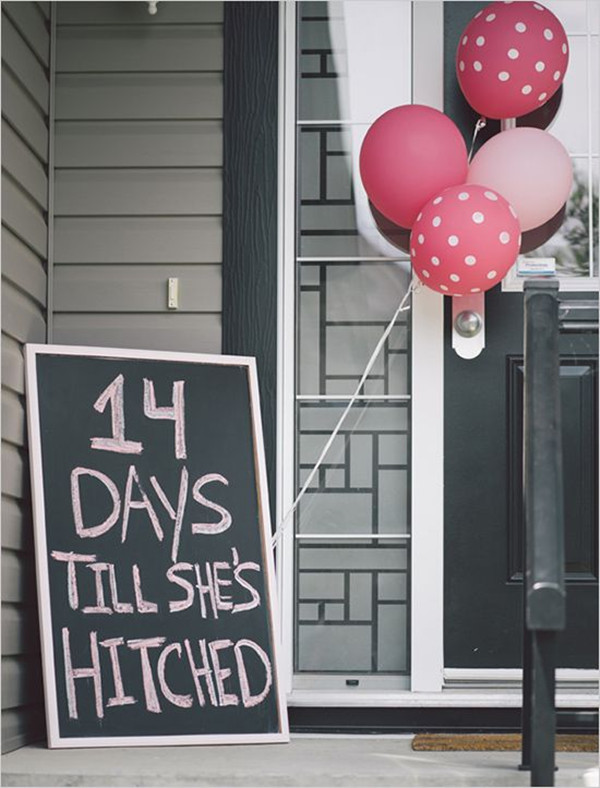modern chalkboard bridal shower signs with balloons