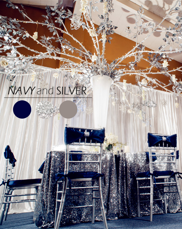 navy and silver winter christmas wedding ideas