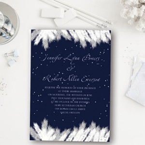 navy and silver winter christmas wedding invitations