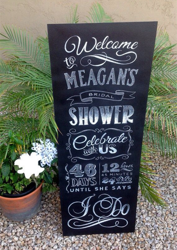 outdoor rustic chalkboard bridal shower signs