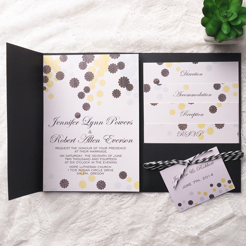 Rustic Black Pocket Wedding Invitations