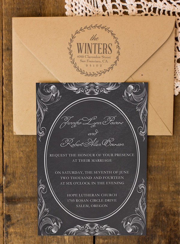 rustic vintage white and black chalkboard wedding invitation cards