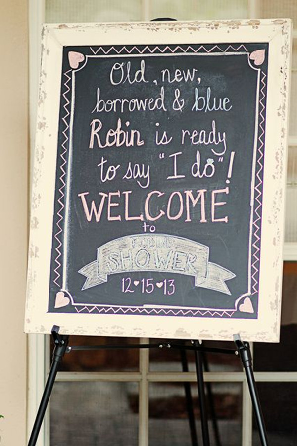 Vintage Bridal Shower Signs With Chalkboard Writing