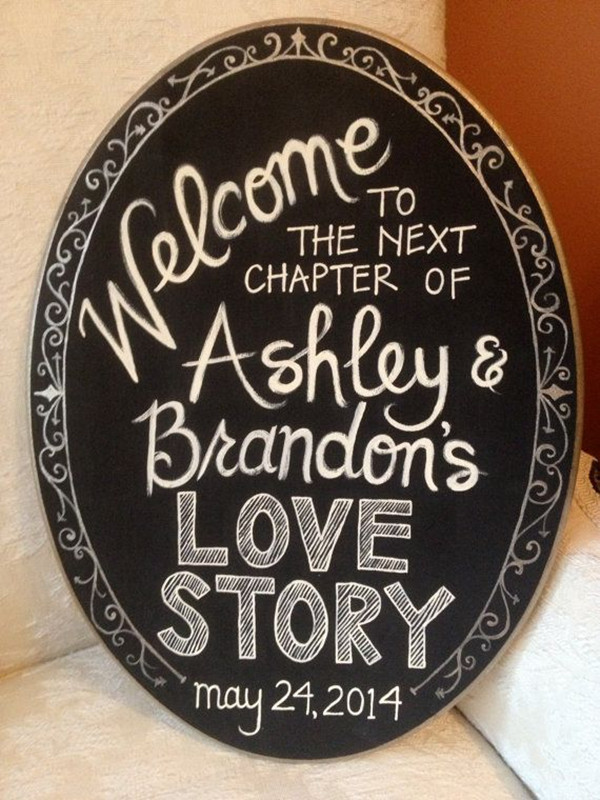 vintage mirror shaped chalkboard bridal shower signs