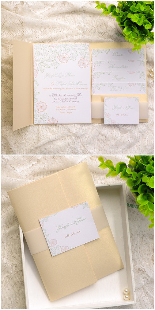2015 trending gold pocket wedding invitation kits