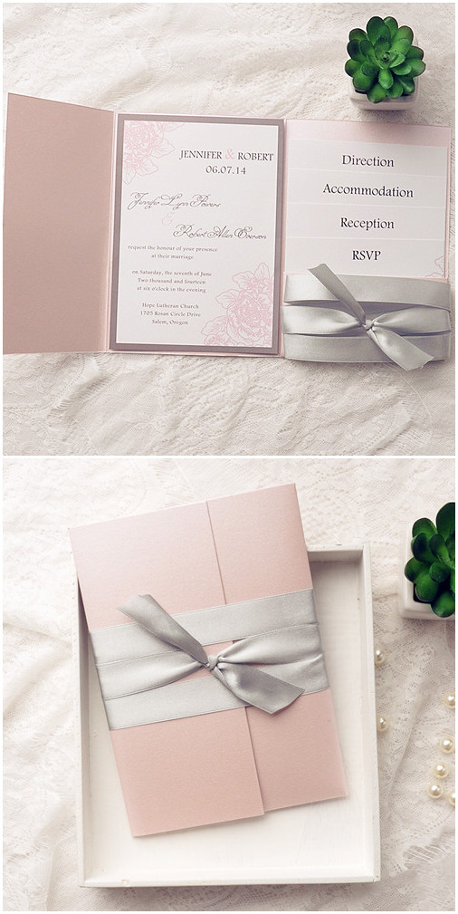 blush pink and gray ribbon pocket wedding invitation kits for spring