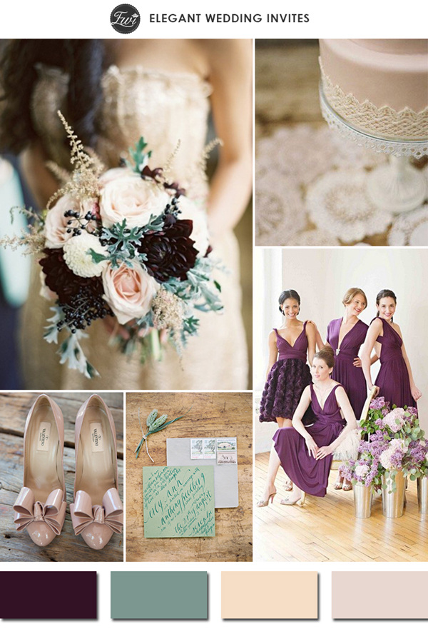 chic plum green and nude wedding color ideas for 2015 trends