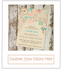 country rustic wooden backyard bridal shower invitation cards 2015