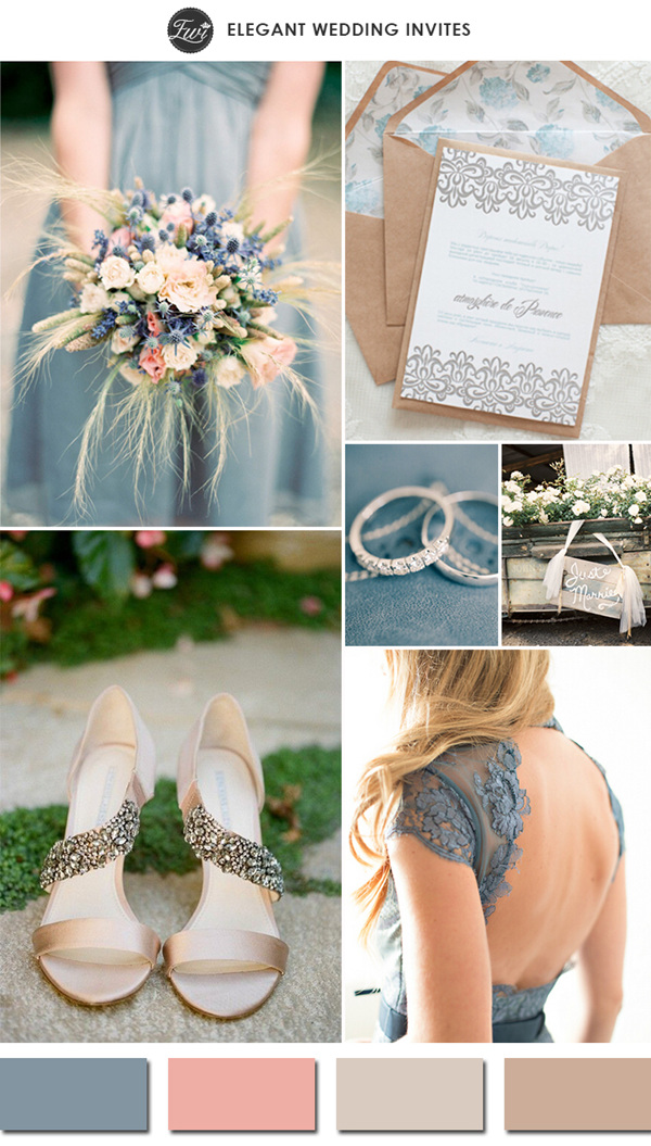dusty blue and nude wedding color schemes 2015 trends