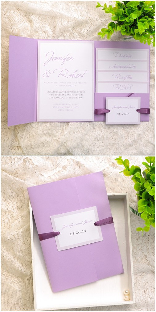 elegant lavender pocket wedding invitation kits for spring 2015