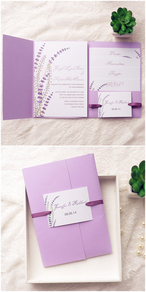 elegant modern lavender pocket wedding invitations for themed wedding ideas