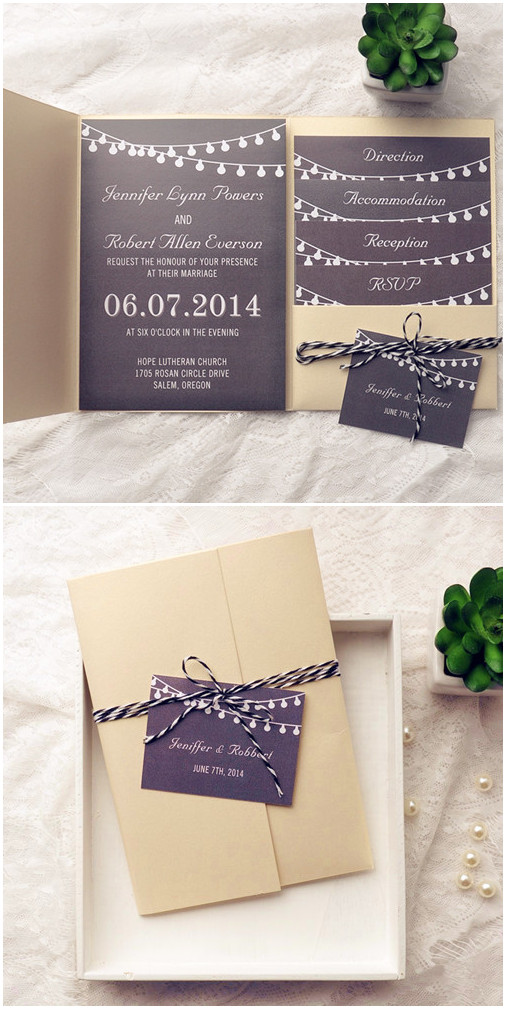 gold and black rustic pocket wedding invitations for backyard wedding ideas 2015