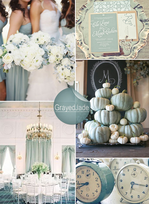 grayed jade wedding colors for winter weddings