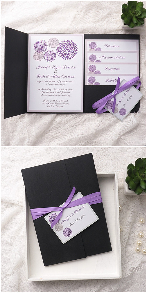 lavender and black pocket wedding invitation cards for 2015 spring