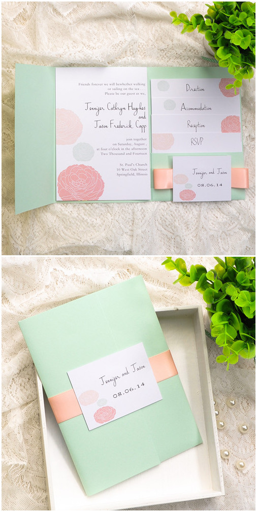 mint green and peach pocket wedding invitations 2015 trends