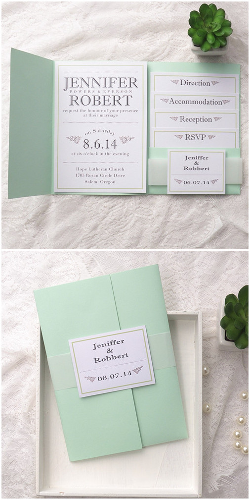 mint green vintage pocket wedding inviation cards for spring 2015