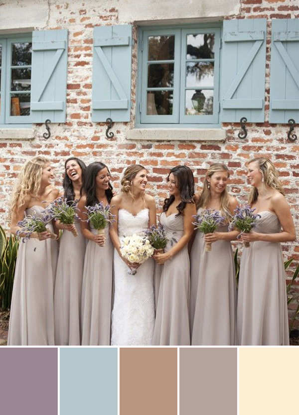 nude bridesmaid dresses with lavender bouquets for nude wedding color ideas
