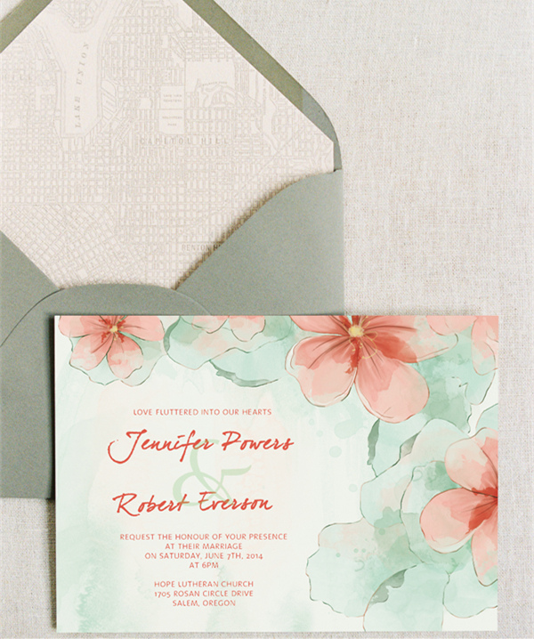 peach and mint green watercolor wedding invitations 2015 trends EWI377