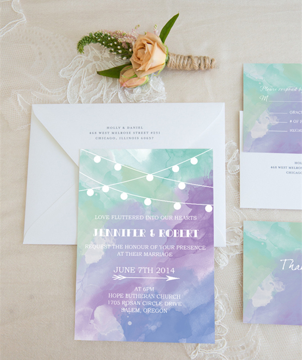 romantic purple and blue watercolor wedding invitations for 2015