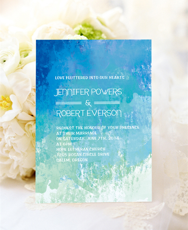 shades of blue beach wedding invitations for summer weddings 2015 EWI372