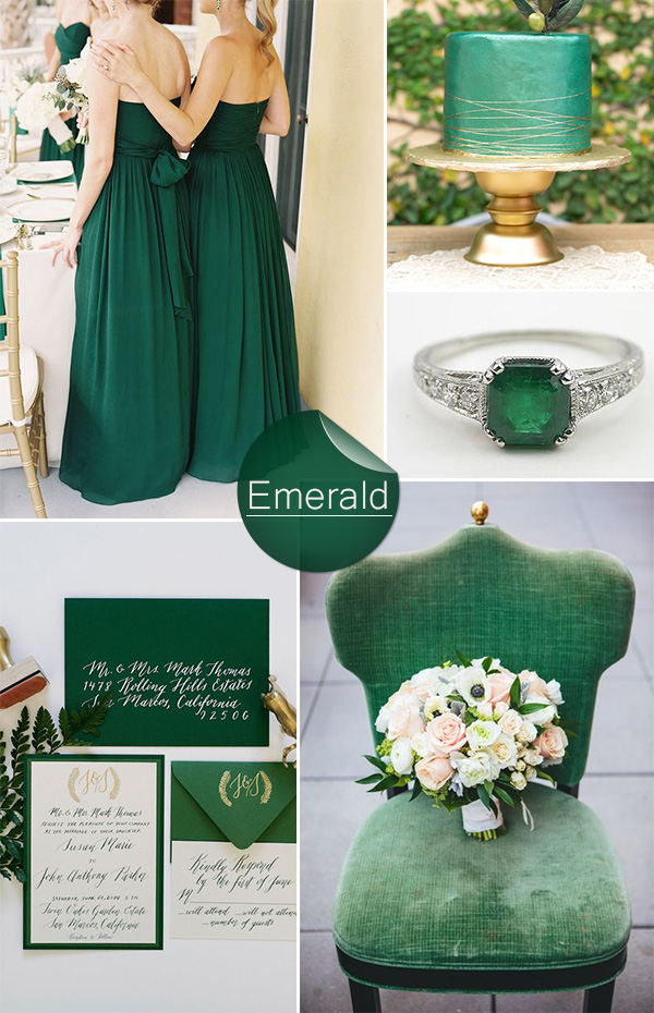 vintage emerald green wedding color ideas