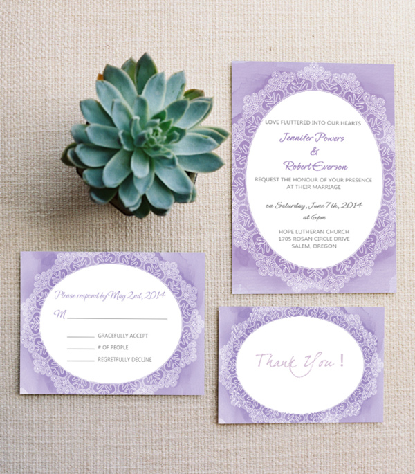 vintage lavender watercolor wedding invitations EWI378