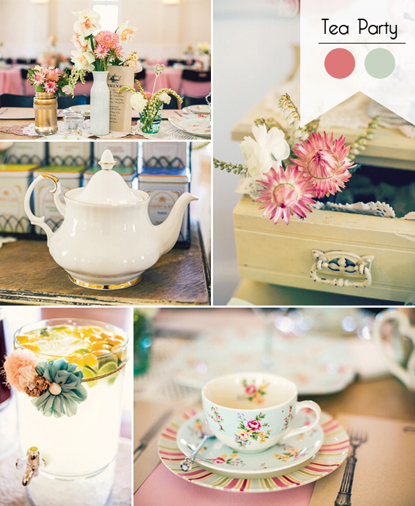 vintage pink and blue tea party 2015 bridal shower ideas