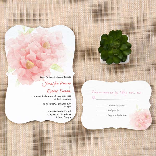 Blush Pink Garden Wedding Invites