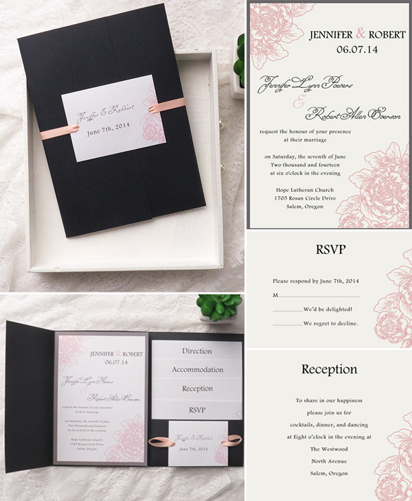 Blush Pink And Black Pocket Wedding Invitations For 2017 Trends