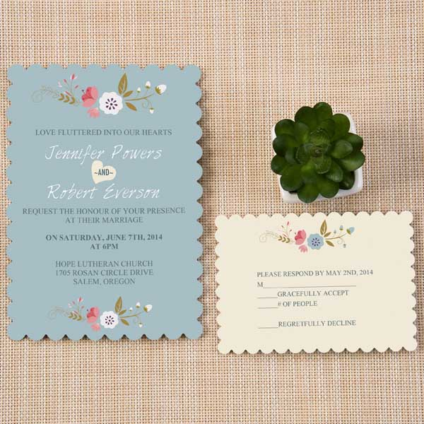 Dusty Blue Chic Wedding Invitations