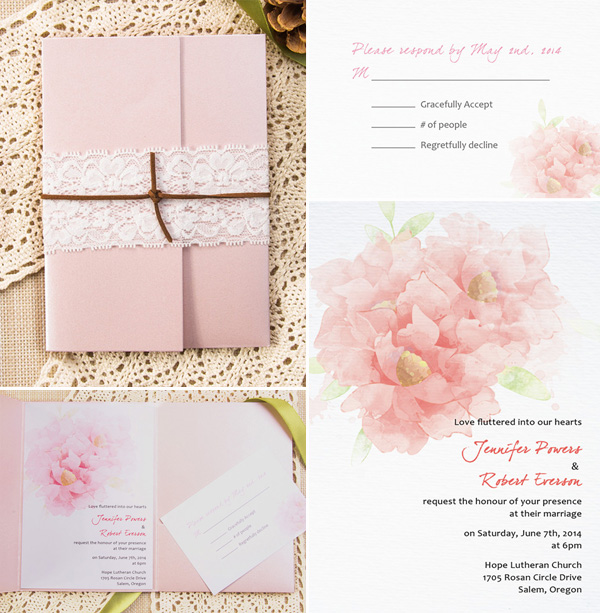 chic rustic blush pink pocket wedding invitation kits