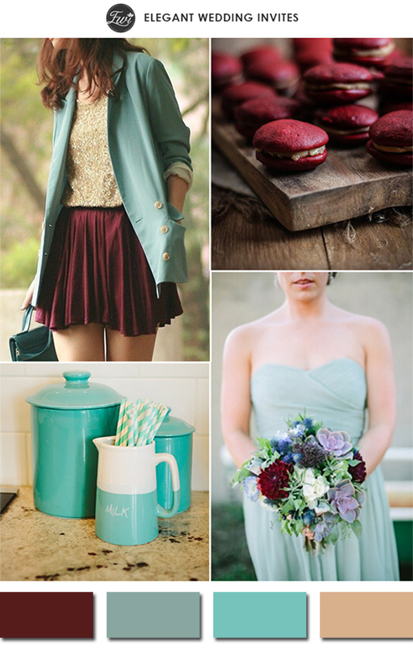 chic vintage marsala and teal wedding color ideas 2015