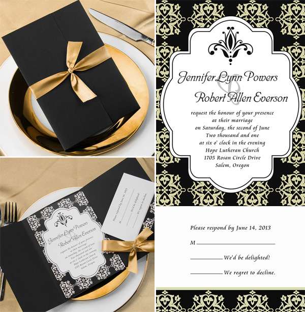 gold and black pocket wedding invitations 2015 trends