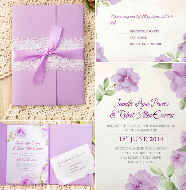 Lavender Wedding Color Inspired Pocket Invitation Kits For 2015 Spring And Summer