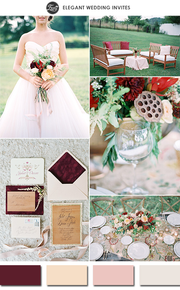 marsala and blush pink wedding color ideas for spring and summer 2015
