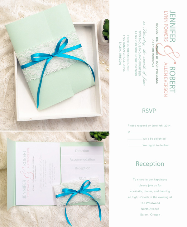 Mint Green Pocket Wedding Invitation Kits For Spring And Summer 2015