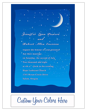 moon and stars sapphire blue wedding invitation cards EWI195