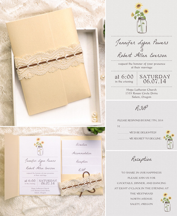 rustic mason jars and sunflowre inspired gold pocket wedding invitations
