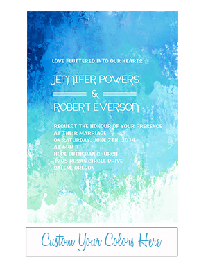shades of blue watercolor beach wedding invitation cards EWI372