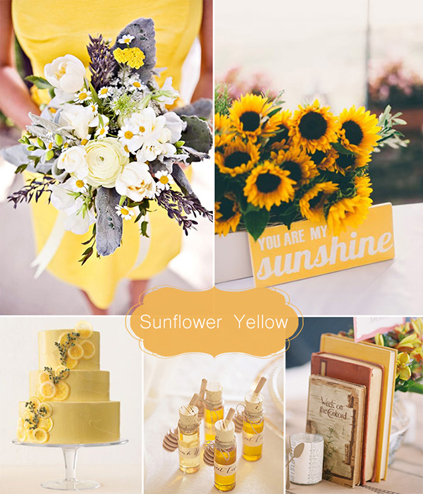 sunflowers inspired 2015 spring yellow wedding color ideas