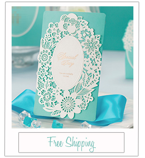 tiffany blue inspired laser cut wedding invitation kits EWLS042