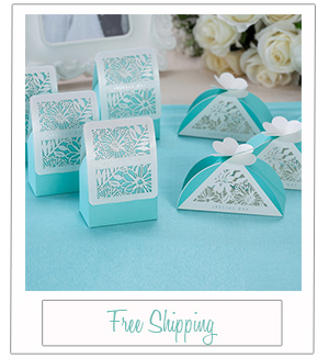 tiffany blue laser cut wedding favor boxes