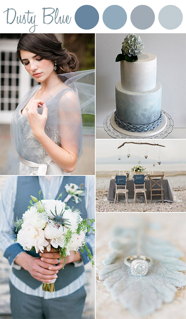 vintage soft dusty blue wedding color ideas