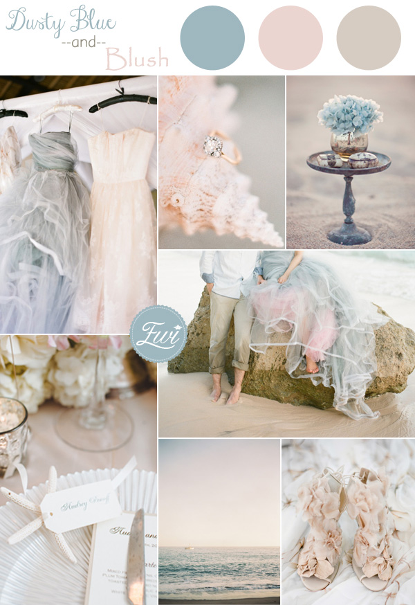2015 Trending Dusty Blue And Blush Pink Beach Summer Wedding Color Ideas