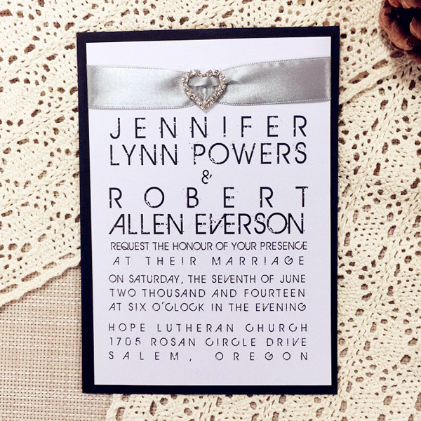 black and gray layered modern wedding invites with rhinestones EWLI009