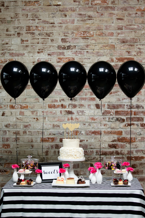 black white and hot pink stripes bridal shower ideas with hanging balloons