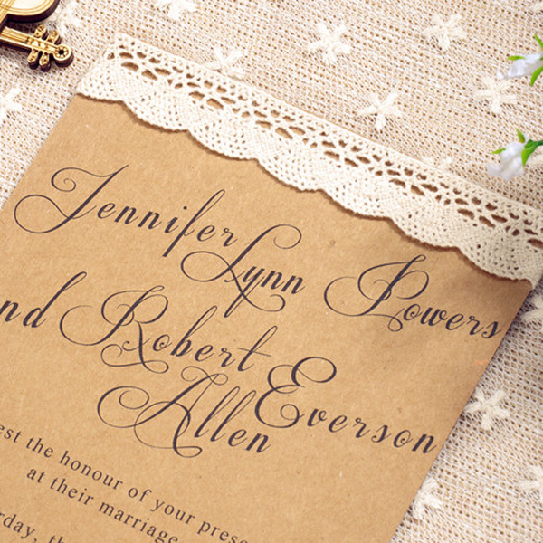 chic rustic lace wedding invitations 2015 trends EWLS0211