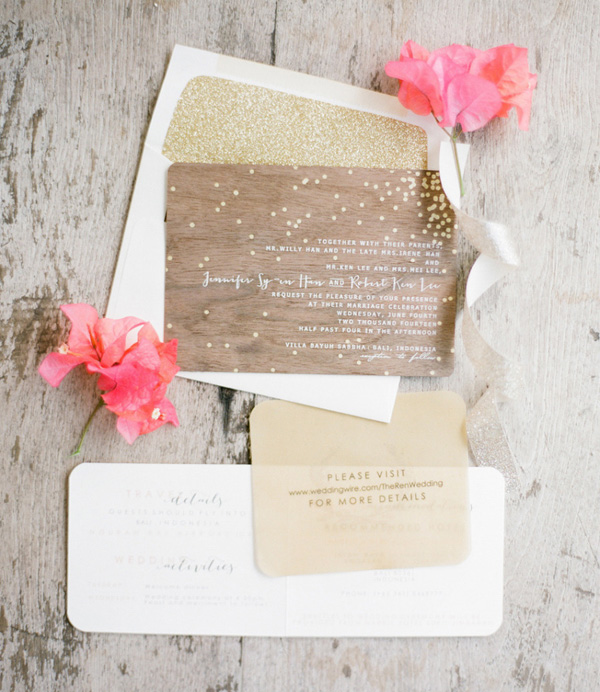 chic rustic wooden wedding invitations with sparkles